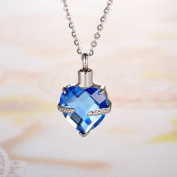 Crystal March Birthstone Heart Cremation Jewellery Keepsake Memorial Urn Necklace