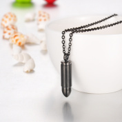 Black Bullet Cremation Jewellery Keepsake Memorial Urn Necklace Ash Holder