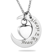 Always In My Heart Moon Heart Cremation Jewellery Keepsake Memorial Urn Necklace