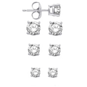 Sterling Silver Round Basket CZ Stud Earring Set Of Three