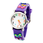 3D Lovely Cartoon Children Watch Silicone Strap Waterproof Digital Round Quartz Wristwatches Time Teacher Gift for Girls Purple-butterfly