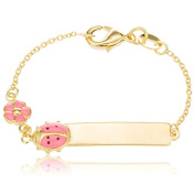 Two Year Warranty Gold Overlay 15cm ID Bar Baby Bracelet with a Pink Ladybug & Flower Charm