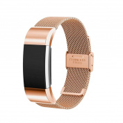 EEEKit Luxury Milanese Stainless Steel Wrist Band Loop Strap Clasp for Fitbit Charge 2