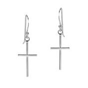 Simple Skinny Cross .925 Sterling Silver Dangle Earrings