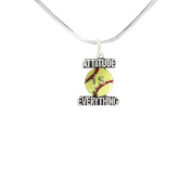 """Softball """"Attitude Is Everything"""" ©2011 Hypoallergenic Adjustable Necklace. Nickle, Lead, Cadmium Free."""