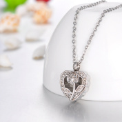 Crystal Rose Heart Cremation Jewellery Keepsake Memorial Urn Necklace Ash Holder