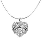 """Grandma"" Crystal Heart Necklace, ©2015 Safe-Hypoallergenic, Nickel, Lead, & Cadmium Free!"