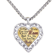 Mom You Are The World To Us Silver Chain Necklace Heart Jewellery