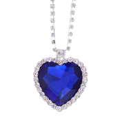 Moive Titanic Pretty HEART OF THE OCEAN Big Czech Blue CRYSTAL Pendant NECKLACE