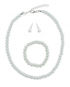Girl's Simulated White Pearl Necklace with Assorted Stretch Bracelet & Stud Earrings