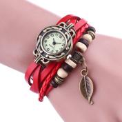 Fashion Retro Leaf Bracelet Watch Quartz Movement Wrist Watch Girl Women