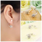 Fashion Women Crystal Rhinestone Pearl Ear Studs Pendant Earrings Jewellery