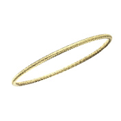 High Polished Rhodium Plated Diamond Cut Slip on Bangle