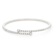 Rhodium Single Row Flex Bangle with Crystals