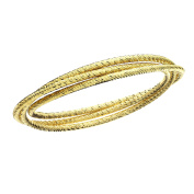 High Polished Rhodium Plated Diamond Cut Triple Slip on Bangle