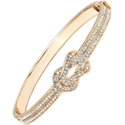 Gold and Clear Elements 18kt Gold-Plated Knot Bangle Bracelet