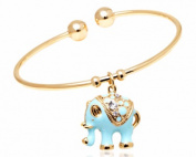 Crystal Details 18kt Gold-Plated Gold and Turquoise Elephant Charm Bangle