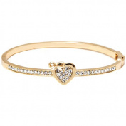 White Elements 18kt Gold-Plated Heart Bow Bangle Bracelet, 19cm