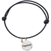 Lesa Michele Sterling Silver Happiness Charm Brown Leather Bracelet in Sterling Silver