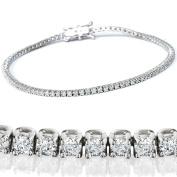 2 1/2ct Genuine Diamond Tennis Bracelet Solid 14K White Gold 18cm