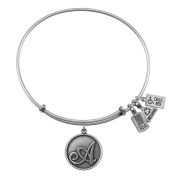 Wind & Fire Initial 'A' Silver Charm Bangle