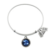 Wind & Fire September Birthstone Charm Bangle Silver