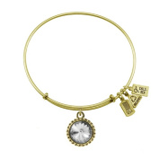 Wind & Fire April Birthstone Charm Bangle Gold