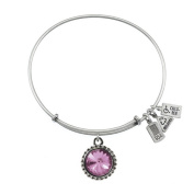 Wind & Fire June Birthstone Charm Bangle Silver