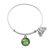 Wind & Fire August Birthstone Charm Bangle Silver