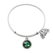 Wind & Fire May Birthstone Charm Bangle Silver