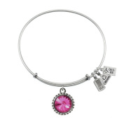 Wind & Fire October Birthstone Charm Bangle Silver