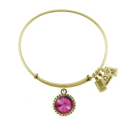 Wind & Fire October Birthstone Charm Bangle Gold