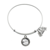 Wind & Fire April Birthstone Charm Bangle Silver