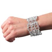 Evelots Crystal Rhinestone Vine Bangle Bracelet Clear