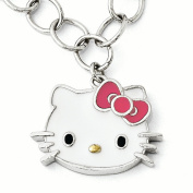 Sterling Silver Hello Kitty Enamelled Pink Bow Collection Bracelet