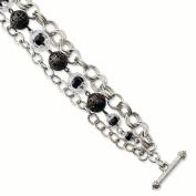 Silver-tone Black & Clear Glass & Acrylic Beads 18cm Toggle Bracelet