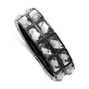 Black-plated Grey Epoxy Stones Stretch Bracelet