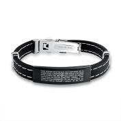Stainless Steel Rubber Lords Prayer Bracelet