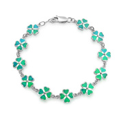 Bling Jewellery 925 Silver Green Synthetic Opal Inlay Celtic Jewellery Clover Bracelet Rhodium Plated