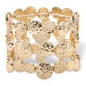 Hammered Circle Charm Stretch Bangle Bracelet in Gold Tone 18cm