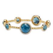 1 TCW London Blue Simulated Sapphire and Cubic Zirconia Halo Bangle Bracelet 23cm