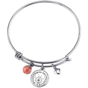 Disney Mickey Mouse Women's Stainless Steel If You Can Dream It You Can Do It with Cherry Quartz Bangle Bracelet