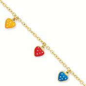14k Enamelled Heart Adjustable Child Bracelet