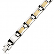 Stainless Steel & 18k Gold Foil 21cm Bracelet