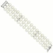 Sterling Silver Majestik 3 Row 10-11mm White Shell Bead Bracelet