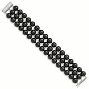 Sterling Silver Majestik 3 Row 10-11mm Black Shell Bead Bracelet