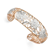 Leslie's Sterling Silver Rose-tone 18k Flash Plated Cuff Bangle