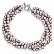 Sterling Silver Majestik 4 Row 4-5mm Purple Shell Bead Twisted Bracelet