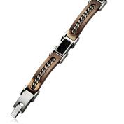 Stainless Steel Brown IP-plated Black Carbon Fibre 20cm Bracelet