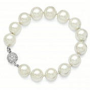 Sterling Silver Majestik 12-13mm White Shell Bead w/CZ Clasp Bracelet
